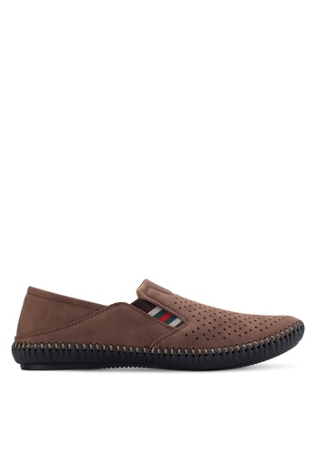 Louis Cuppers brown Perforated Slip Ons LO977SH85AVAMY_1