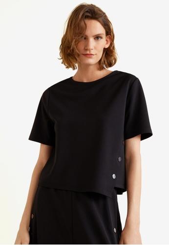 MANGO black Buttons T-Shirt DD5FFAAC8C3BCBGS_1