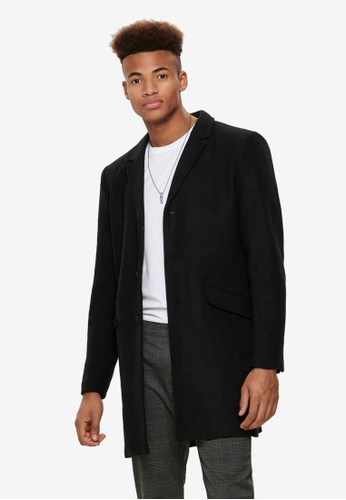 Only & Sons black Julian Solid Wool Coat 41755AAC5E7309GS_1