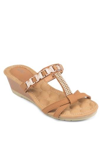 一字帶閃飾楔形涼鞋,esprit 香港 女鞋, 楔形涼鞋