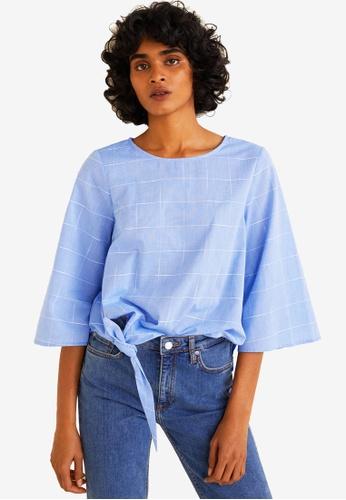 Mango blue Knotted-Hem Cotton Blouse 34836AA74B55C1GS_1