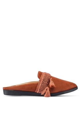 Berrybenka 橘色 流蘇穆勒鞋 34B87SH4719F69GS_1
