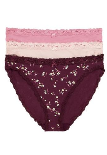 MARKS & SPENCER multi M&S 3pk Cotton & Lace High Leg Knickers 4260AUSC758D06GS_1
