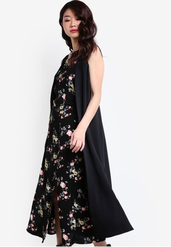 TOPSHOP black Sleeveless Duster Coat TO412AA62JGBMY_1