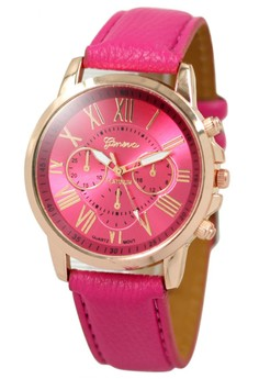 Geneva Celine Leather Strap Watch (Hot Pink)
