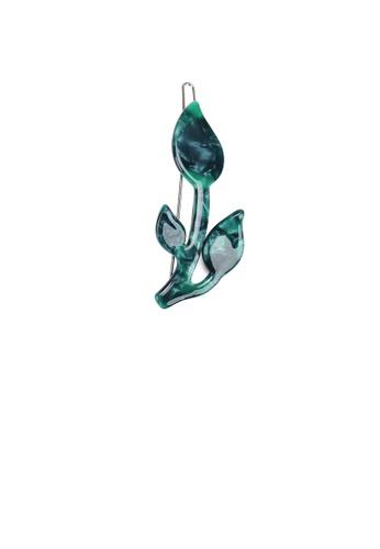 Glamorousky silver Fashion Simple Green Flower Hair Clip 0D1B7ACB36F2BCGS_1