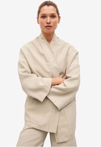 Mango beige Kimono Style Jacket 6AA0CAA1269F30GS_1