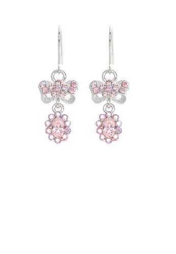Glamorousky pink Glistening Ribbon Earrings with Pink Austrian Element Crystals 6B619AC02C0C64GS_1