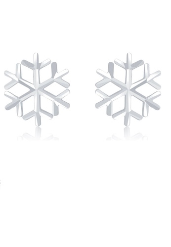 MaBelle silver 14K 585 White Gold Hollow Cut Snowflake Stud Earrings E02F9AC043FD4AGS_1
