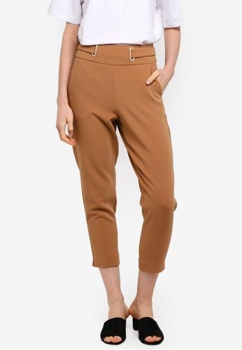 ESPRIT brown Metallic Eyelet Cropped Pants BC516AA21E62F3GS_1