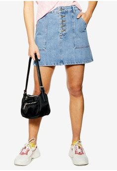 2891ee8936 TOPSHOP blue Petite Five Button Denim Skirt 240FAAAE7854BDGS_1