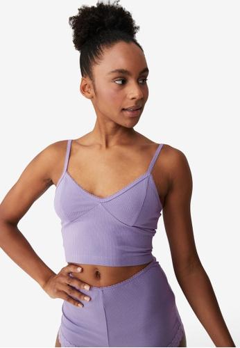 Cotton On Body purple Rib Lace Sleep Bustier 25DD6AA7229060GS_1