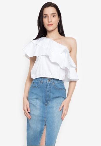 NEXT white One-sided Ruffles Crop Top D283FAAAD57CA4GS_1