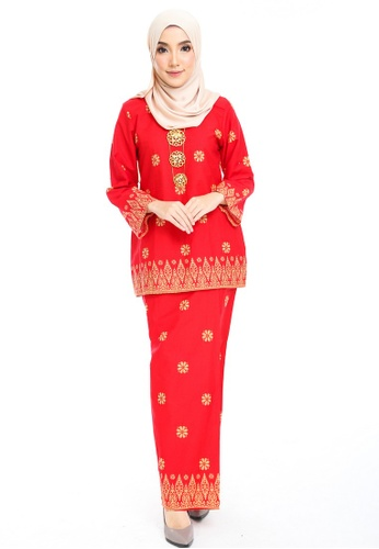 Cotton Modern Kurung With Songket Print (Tabur) from Kasih in Red and Yellow