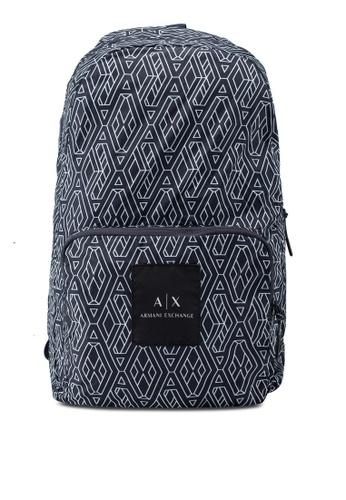 Armani Exchange navy Geometric Logo Poly Backpack BE973ACB84F1EEGS 1 b9dafaf11e945