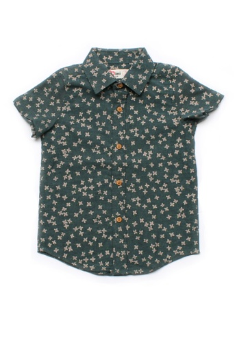Mini Moley green Floral Motif Boy's Short Sleeve Shirt 3FC35KAEB2D2AFGS_1