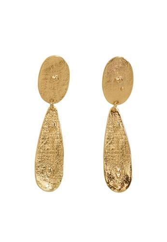 Violeta by MANGO gold Embossed Pendant Earrings F657FAC5E7E1C0GS_1