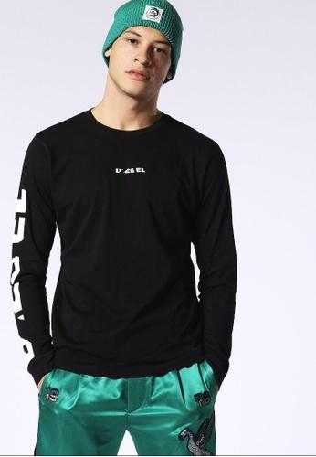 Diesel black T-Joe-Ls-Sn Long Sleeve Tshirt With Print 2AD4DAAB28D5E6GS_1