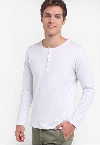 UniqTee white Eco Fabric Henley Long Sleeve Tee UN097AA45REOMY_1