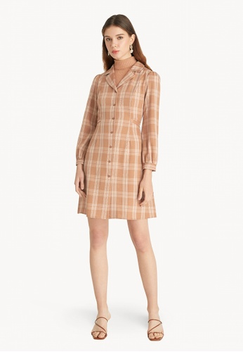 Pomelo brown Plaid Tie Waist Dress - Brown A9FD3AA11EDBDCGS_1