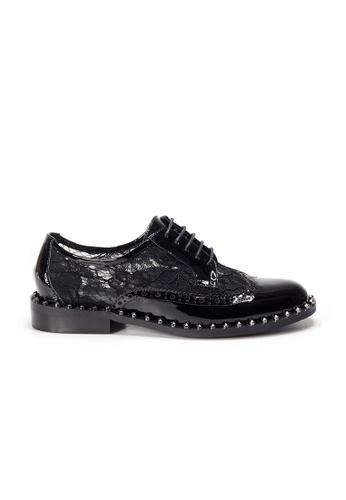 Shu Talk black AMAZTEP Limited Edition Lace Semi-Transparent Patent Leather Oxford Shoes 48C9CSH1E4EE53GS_1