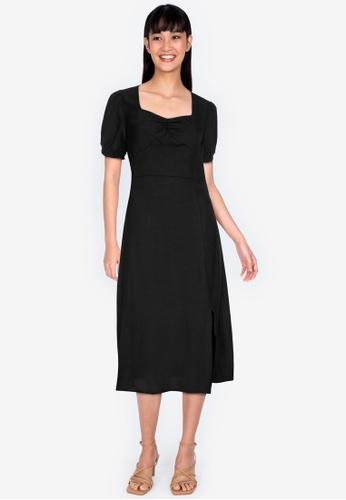 ZALORA BASICS black Smocked Sleeves Ruched Front Midi Dress 78603AA3F35AE2GS_1