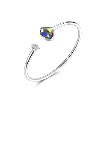 Glamorousky multi 925 Sterling Silver Scalloped Bangle with Austrian Element Crystal 010FBAC913965EGS_1