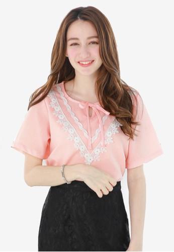 Yoco pink Blouse with Lace Bib 47702AA1E238C4GS_1
