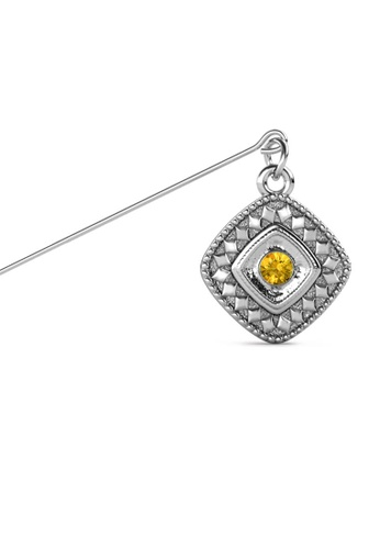 Her Jewellery yellow and silver Kamya Brooch (November) - Made with premium grade crystals from Austria 6C249AC52F3F83GS_1