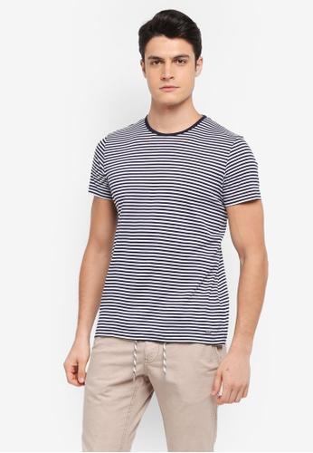 ESPRIT 海軍藍色 短袖條紋T恤 C5510AA5E9E58DGS_1