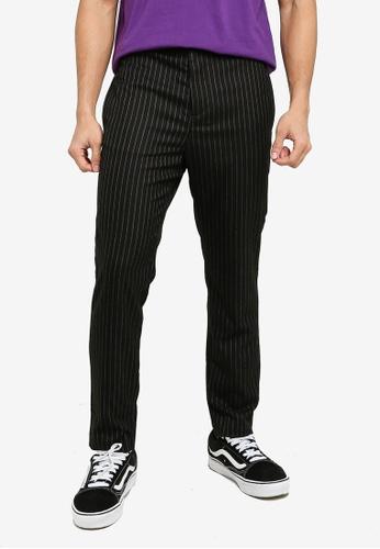 Mennace black Black Pinstripe Slim Trousers BEB6CAAFE488F0GS_1