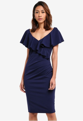 Goddiva navy Frilled V Neckline Midi Dress 4A8D7AAA6225C2GS_1