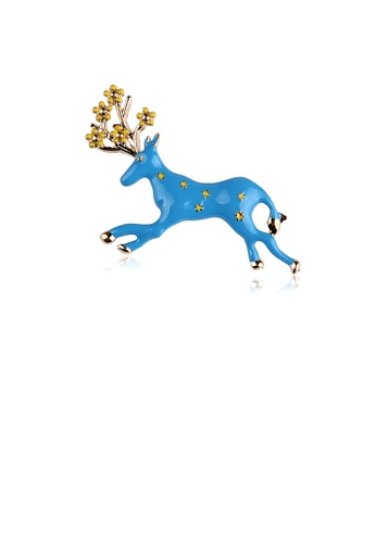 Glamorousky silver Simple and Fashion Plated Gold Enamel Blue Elk Brooch AFA71ACD672760GS_1