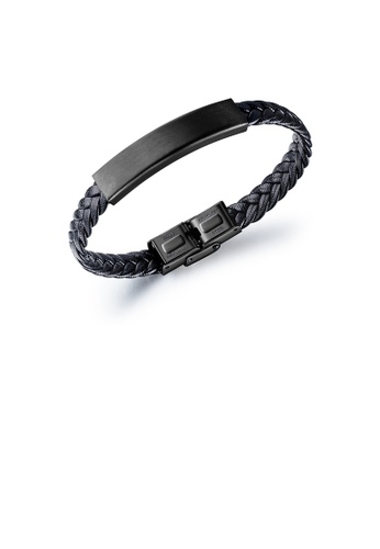 Glamorousky silver Fashion and Simple Plated Black Geometric Rectangular 316L Stainless Steel Leather Bracelet 19CD3AC1EDFE49GS_1