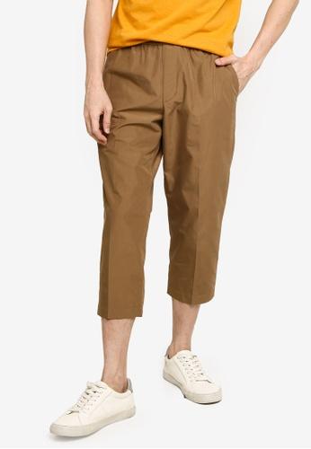 GLOBAL WORK beige Casual Cropped Pants 2E809AABB12FD8GS_1