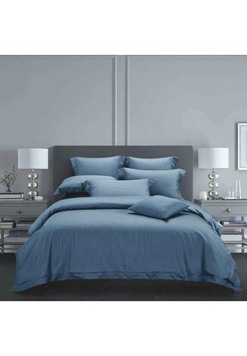 Epitex blue Epitex Hybrid Botanic Silk ET1212-3 1200TC DOBBY Fitted Sheet Set 0343AHLCCE7919GS_1