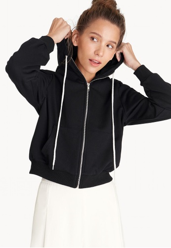 Pomelo black Front Zipped Hoodie - Black D74FAAAD9A282CGS_1