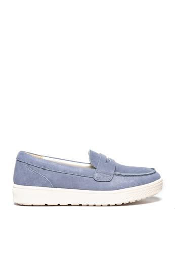 messe 藍色 真牛皮輕量釋壓經典平底樂福鞋 ME601SH09Q4ZTW_1