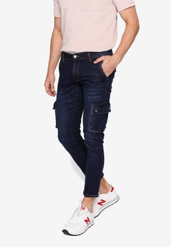 Electro Denim Lab blue Slim Cargo Jeans 3A601AA9C2DF13GS_1
