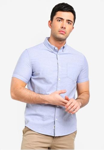 Burton Menswear London 藍色 短袖牛津襯衫 14DDCAA057B476GS_1