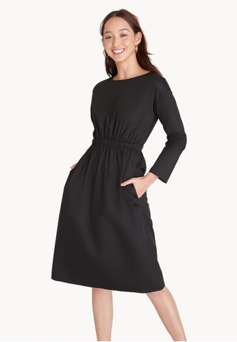 Pomelo black Elastic Waist Over The Knee Dress - Black 8A784AA13392E3GS_1