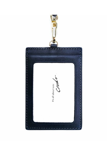 Crudo Leather Craft blue Senz'altro Leather Badge Holder - Navy Blue 9F2D2ACE9508E3GS_1