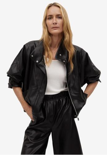 Mango black Oversized Leather-Effect Biker Jacket FBBDDAAA1DFDB8GS_1