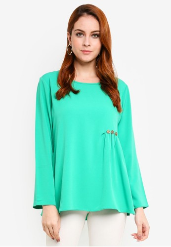 Aqeela Muslimah Wear green Embellished Gather Top F2E3CAA5877127GS_1