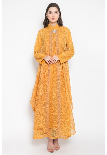 Kasa Heritage orange and yellow and brown Artura Dress - Saffron 4A912AA53B40FAGS_1
