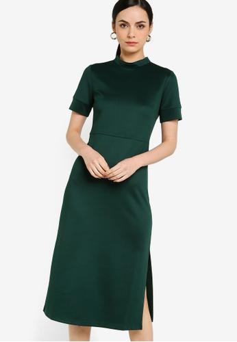 ZALORA WORK green Mock Neck Midi Dress 11548AA05E3416GS_1