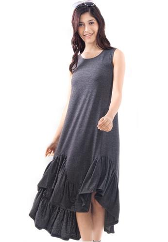 Kitschen grey Sleevless Bottom Ruffle Dress 8E039AAE32EF7DGS_1