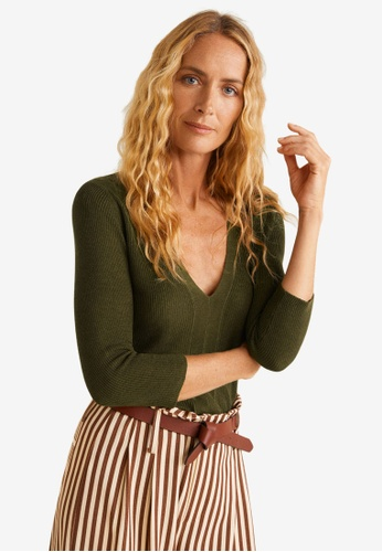 Mango green Fine-Knit Sweater C9AFAAA363E991GS_1