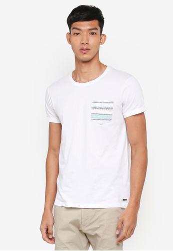 ESPRIT white Printed Pocket Short Sleeve T-Shirt 062F9AA305D657GS_1
