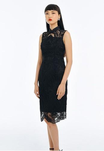 Mandarin Peony Cheongsam black Mandarin Peony RAVEN Lace Cheongsam Dress 5C1E4AA8133F84GS_1